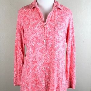Lauren Ralph Lauren Pink Paisley Sleep Shirt Small